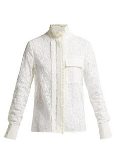 Chloé Floral-lace high-neck blouse