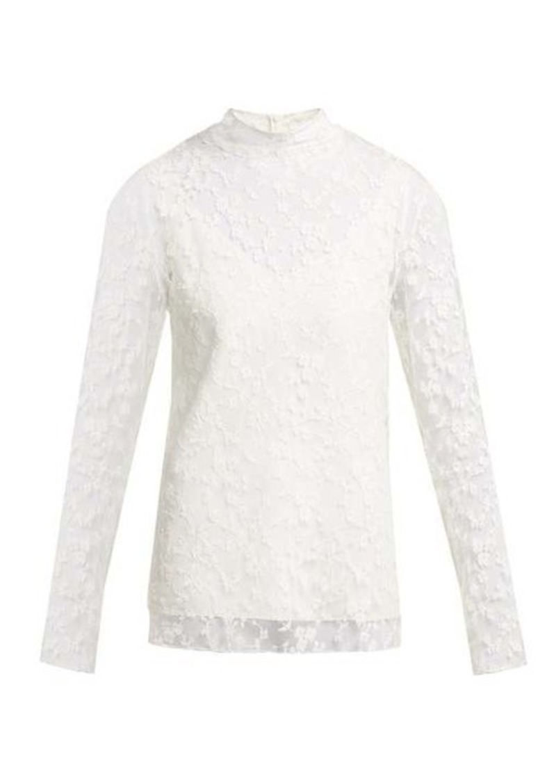 Chloé Floral-lace long-sleeved blouse