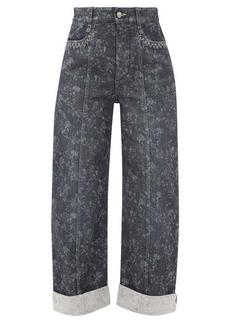 Chloé Floral-print cropped wide-leg jeans