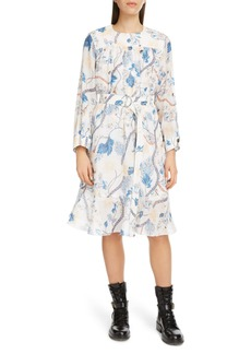 Chloé Floral Print Long Sleeve Shirtdress