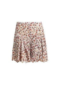 Chloé Floral-print scallop-edge tiered georgette shorts