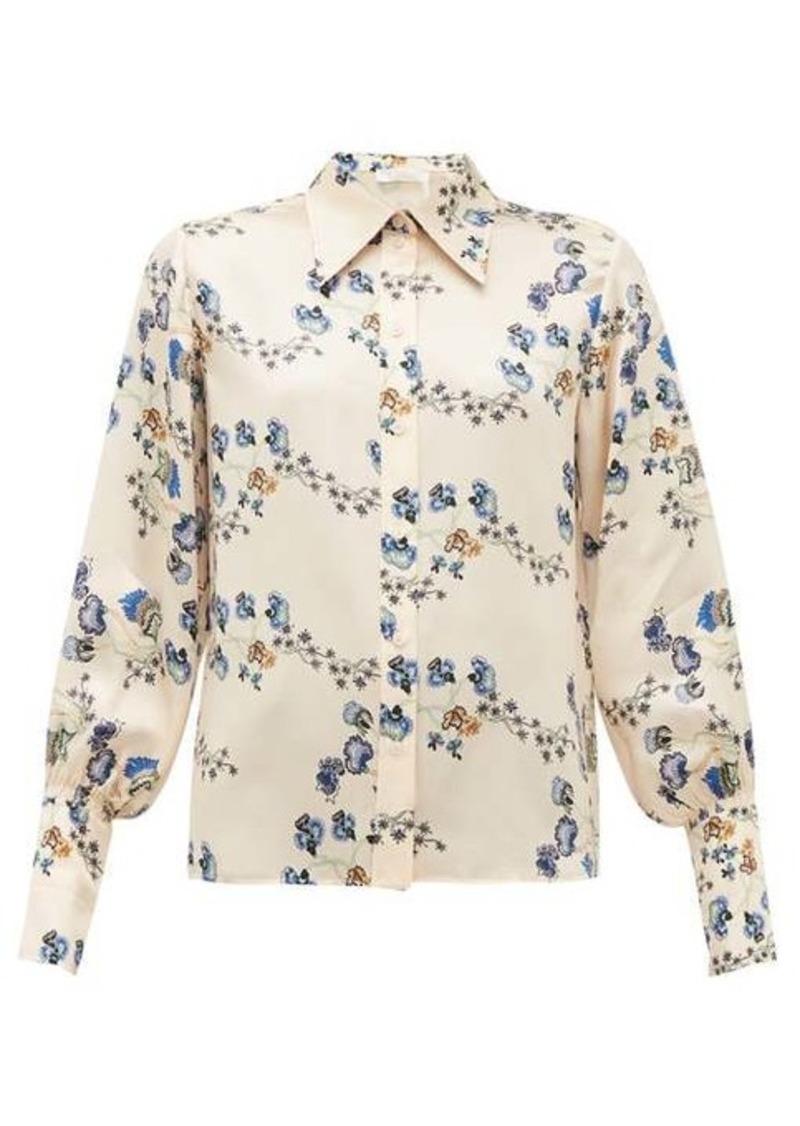 Chloé Floral-print silk-chemise blouse