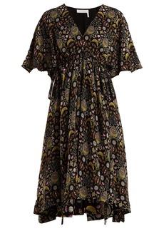 Chloé Floral-print tie-waist crepe dress