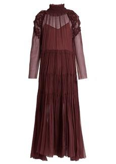 Chloé Floral-smocked silk-crepon midi dress