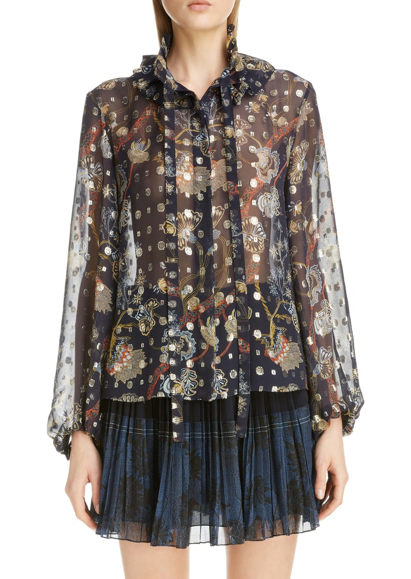 Chloé Floral Tie Neck Bishop Sleeve Silk Chiffon Blouse