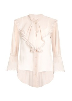 Chloé Fluted-bib silk-crepon blouse