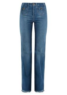 Chloé Frayed hem high-rise straight-leg jeans