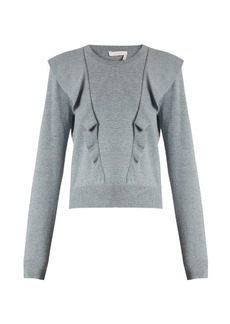 Chloé Frilled cashmere and cotton-blend sweater