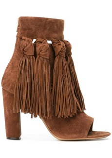 Chloé fringed open toe booties - Brown