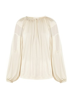 Chloé Gathered-neck balloon-sleeve blouse