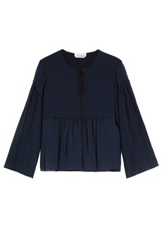 Chloé Gathered-seam cotton and silk-blend top