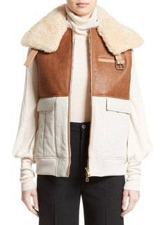 Chloé Genuine Shearling Trim Leather & Cotton Vest