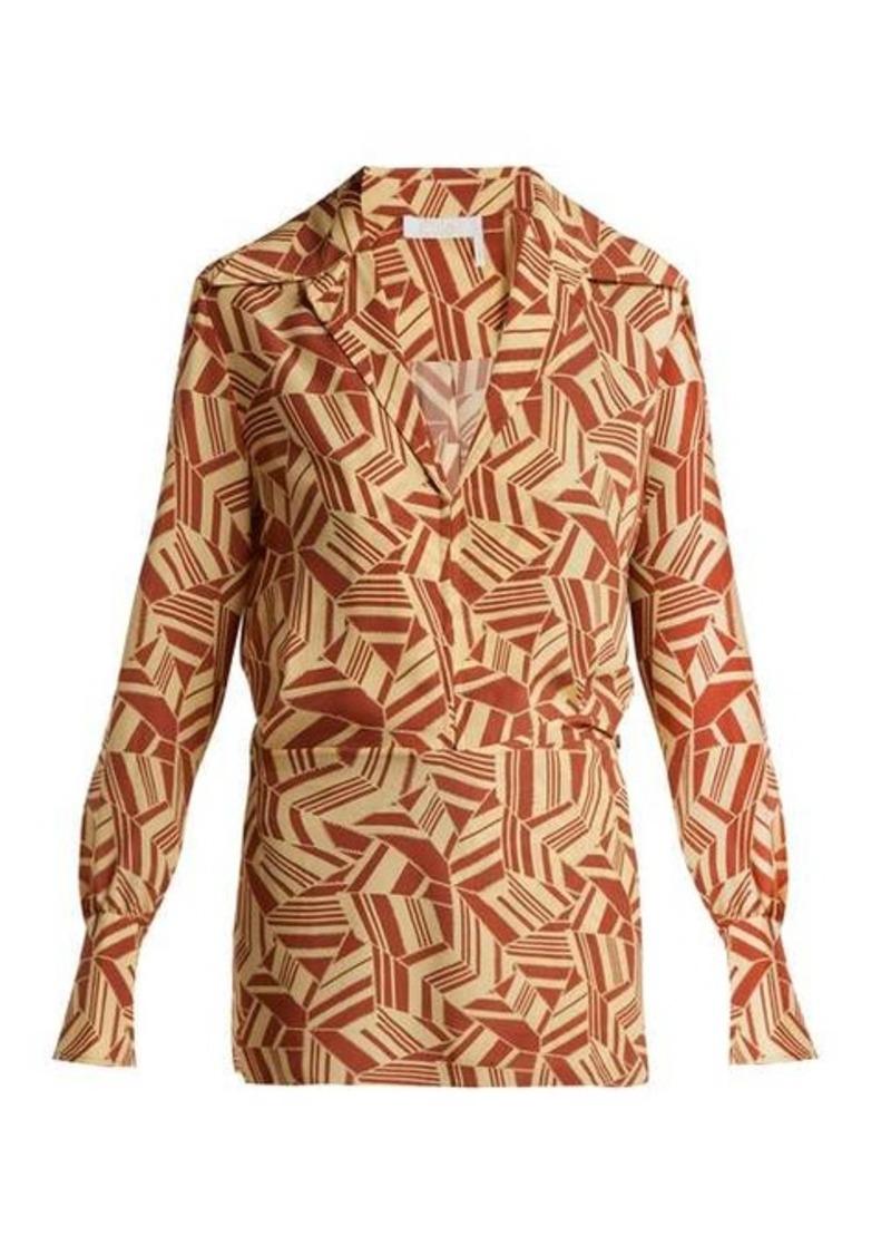 Chloé Geometric-print silk crepe de Chine blouse