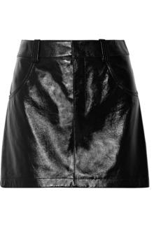 Chloé Glossed-leather mini skirt