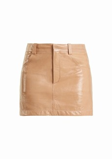 Chloé Grained patent-leather mini skirt