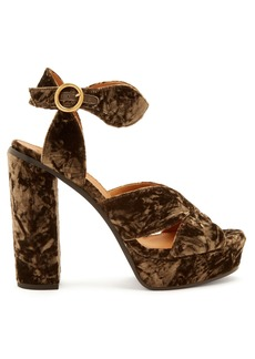 Chloé Graphic Leaves velvet sandals