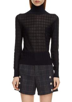 Chloé Grid Pattern Turtleneck Sweater