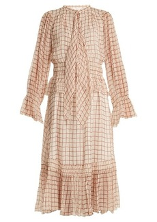 Chloé Grid-print silk-georgette midi dress