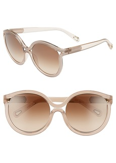 Chloé Grooves 57mm Cat Eye Sunglasses