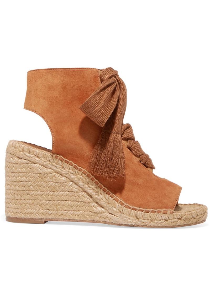 49c2b9842f5 Chloé Harper Lace-up Suede Espadrille Wedge Sandals