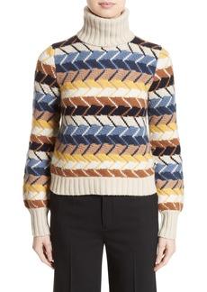 Chloé Herringbone Wool & Cashmere Turtleneck Sweater