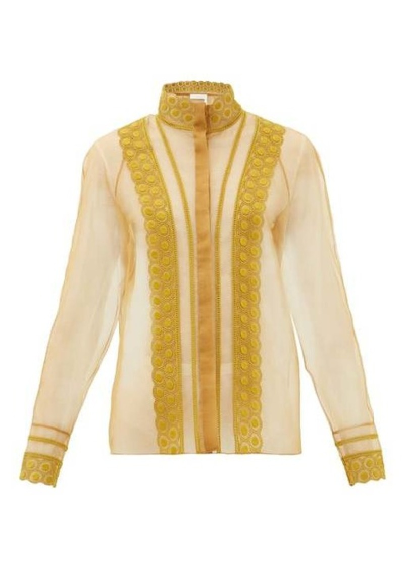 Chloé High-neck embroidered silk-organza blouse