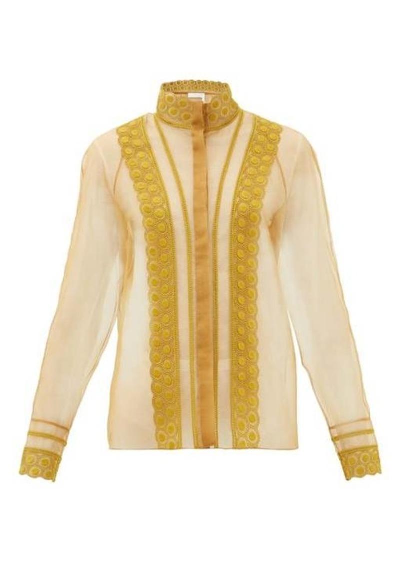 Chloé High-neck embroidered silk-organza blouse