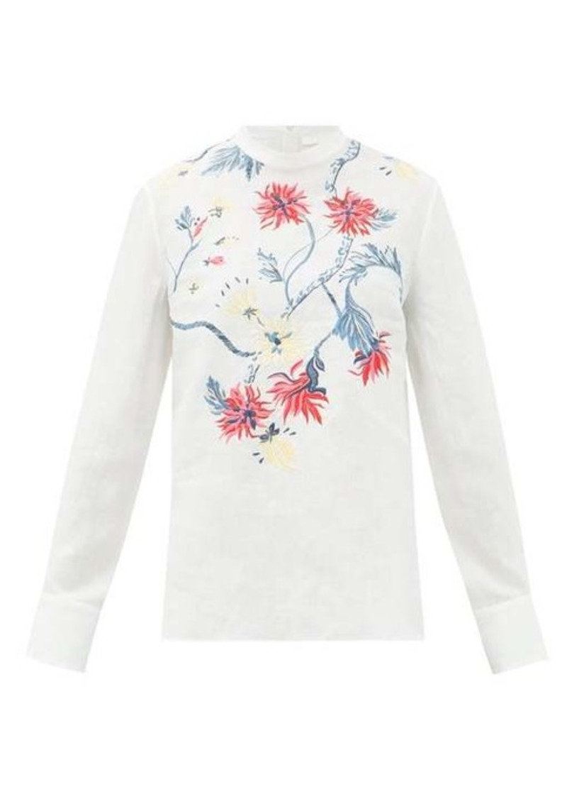 Chloé High-neck floral-embroidered linen blouse