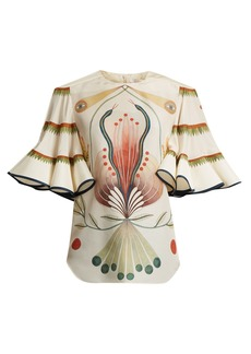Chloé High-neck graphic-print fluted silk top