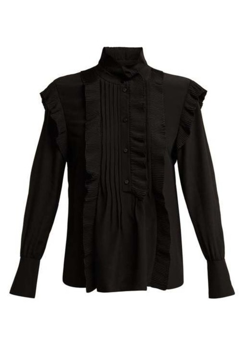 Chloé High-neck ruffled silk blouse