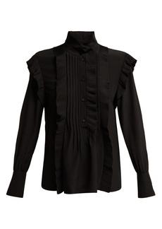 Chloé High-neck ruffled silk blouse