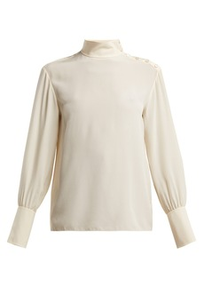 Chloé High-neck silk crepe de Chine blouse