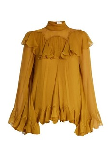 Chloé High-neck silk-crepon ruffled blouse