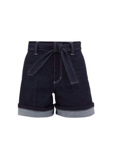 Chloé High-rise belted denim shorts