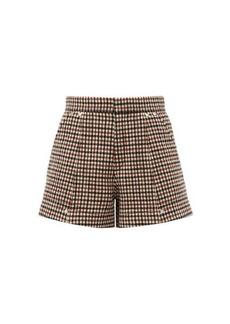 Chloé High-rise checked wool-blend shorts