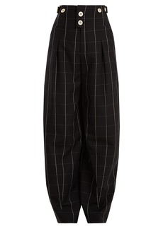 Chloé High-rise checked wool trousers