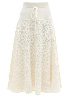 Chloé High-rise floral cotton-blend lace skirt