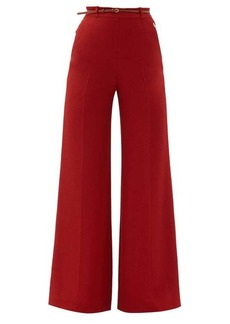 Chloé High-rise leather-belted crepe wide-leg trousers