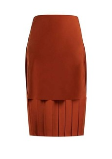 Chloé High-rise pleated silk midi skirt
