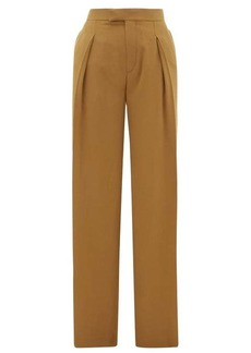 Chloé High-rise pleated silk wide-leg trousers