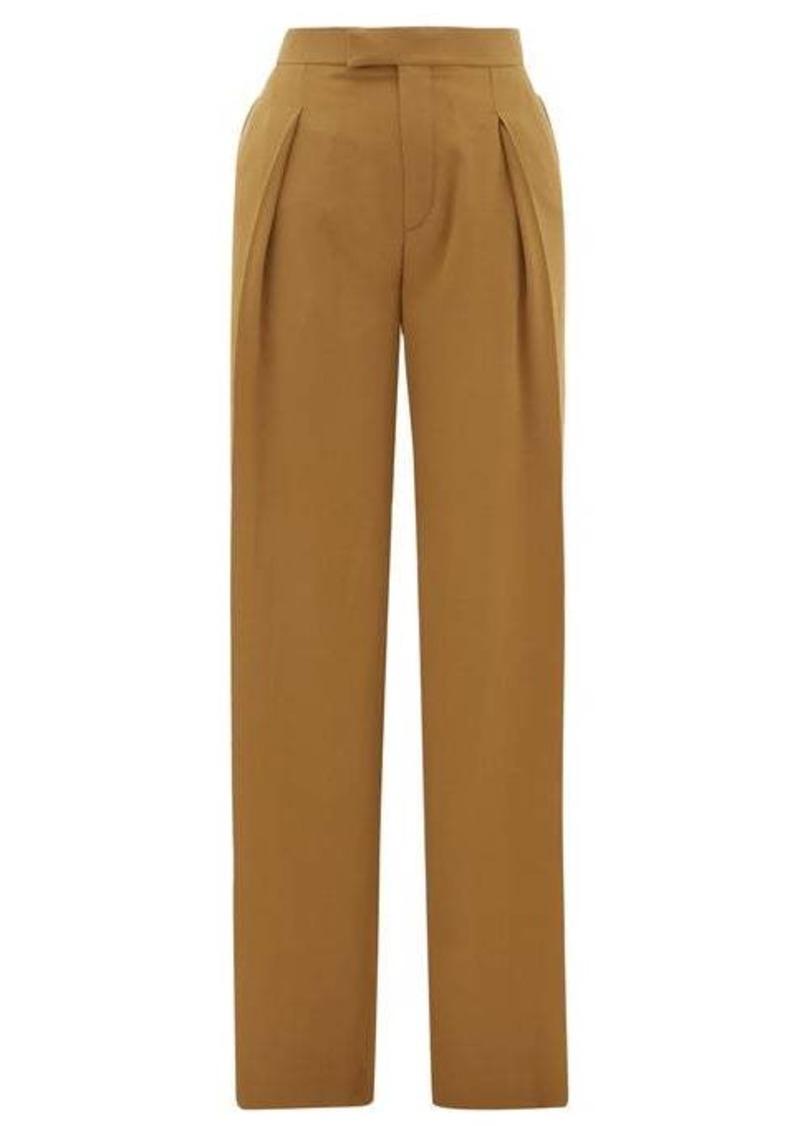 Chloé High-rise pleated silk wide-leg trousers