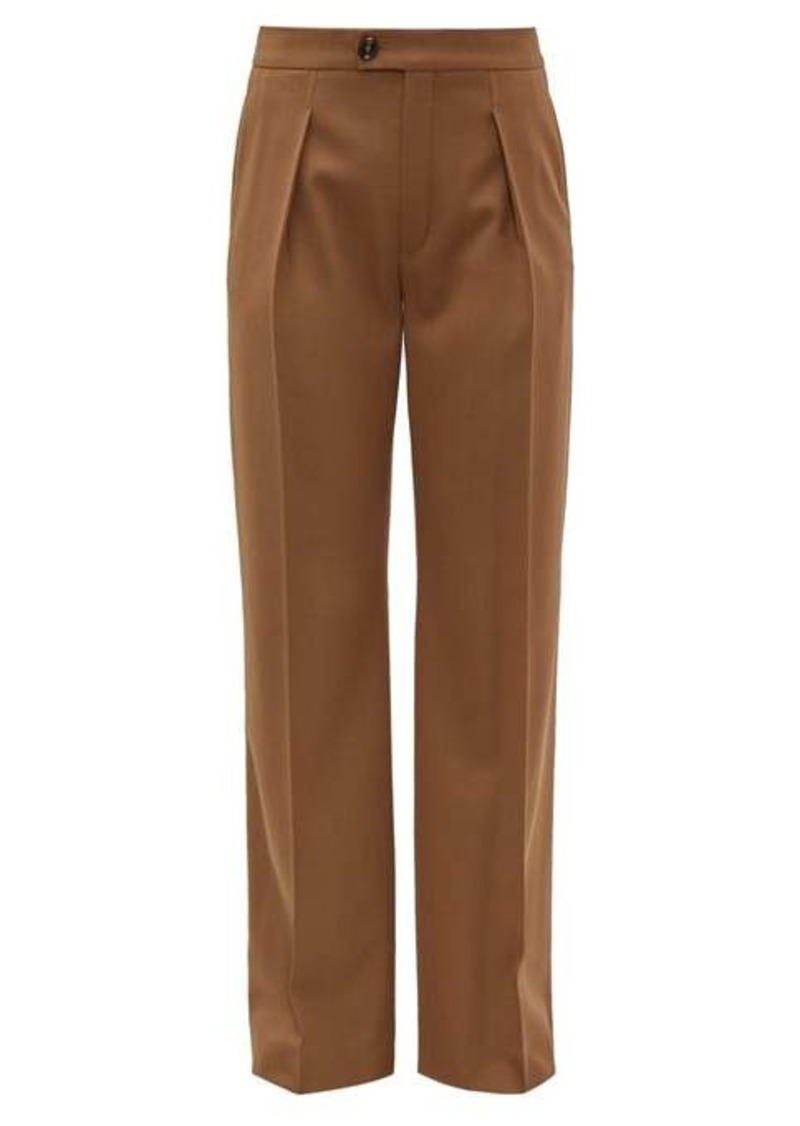 Chloé High-rise pleated wool-blend trousers