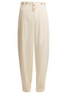 Chloé High-rise tapered-leg cady trousers