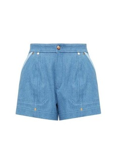 Chloé High-rise two-tone denim shorts