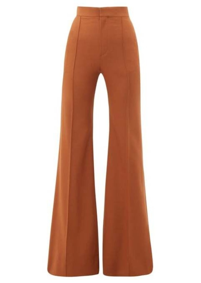 Chloé High-rise wool-blend flared trousers