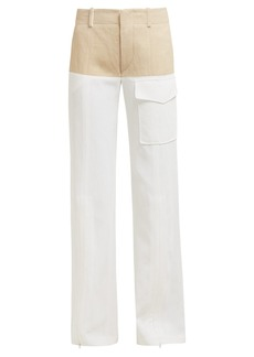 Chloé High-rise zipped-cuff tweed-effect trousers