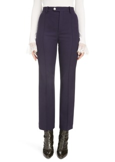 Chloé High Waist Straight Leg Stretch Wool Pants