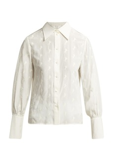 Chloé Horse-embroidered silk-georgette blouse