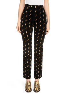 Chloé Horse Embroidered Velvet Pants