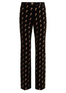 Chloé Horse-embroidered velvet trousers